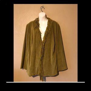 Norton McNaughton olive faux suede jacket tassels